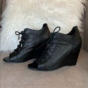 Jessica Simpson Shoes - Jessica Simpson Peep Toe Leather Wedge booties